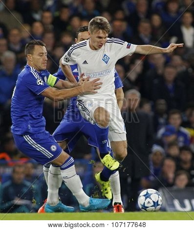 LONDON, ENGLAND - NOVEMBER 04 2015: John Terry of Chelsea tackles Serhiy Sydorchuk of Dynamo Kyiv during the UEFA Champions League match between Chelsea and Dynamo Kyiv at Stamford Bridge