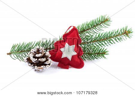 Red Christmas Tree Decoration with Fir Branch
