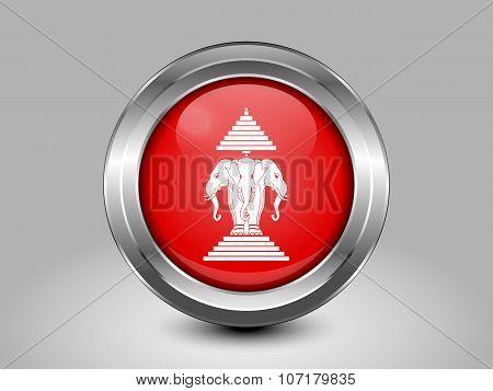 Flag Of The Kingdom Of Laos. Metal Round Icon