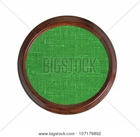 Green Burlap Texture In Wooden Frame Isolated On White Background