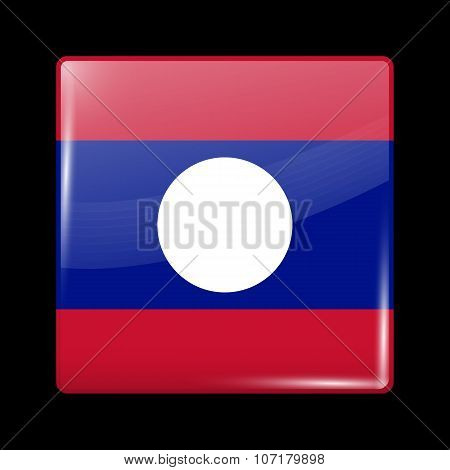 Flag Of Laos. Glassy Icon Square Shape