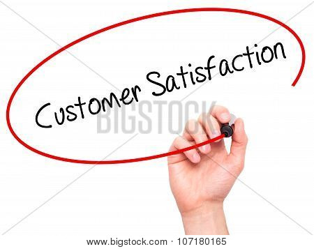Man Hand writing Customer Satisfaction with black marker on visual screen.
