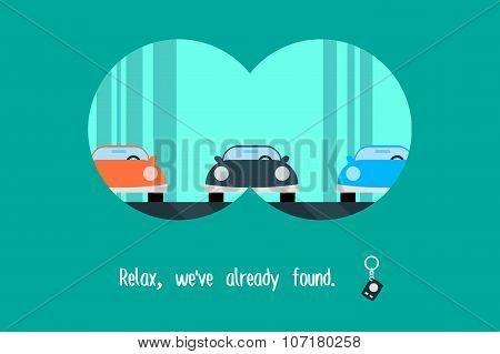 Car search. Advertising poster, trendy modern flat vector illustration.