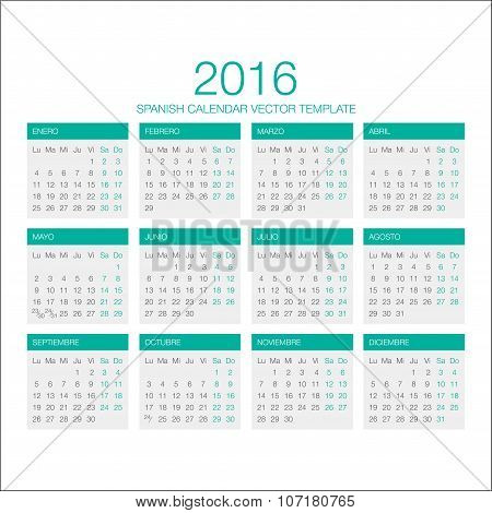 Spanish Calendar Vector 2016