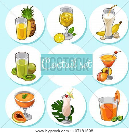 Set of different cocktails with fruits