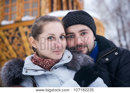 Winter Portrait Of A Young Couple 25 Years