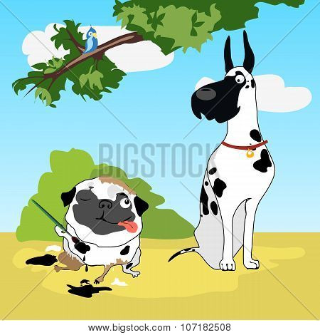 Two funny dogs in disguise Dalmatians