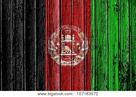 Flag Of Afghanistan Painted On Wooden Frame