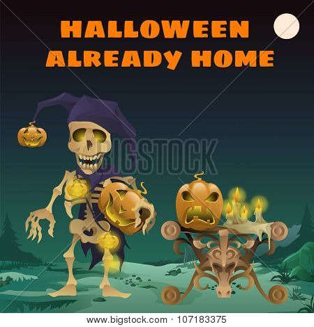 Card with funny skeleton, Halloween already home