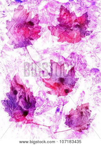Set Of Autumn Leaves On Abstract Background