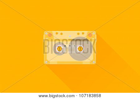 Retro Audio cassette. Modern flat style vector illustration.