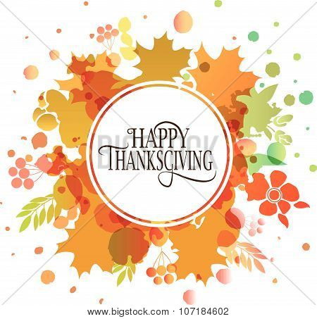 Happy Thanksgiving Day Watercolor Logotype, Badge And Icon