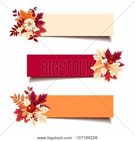 Vector banners with autumn leaves.
