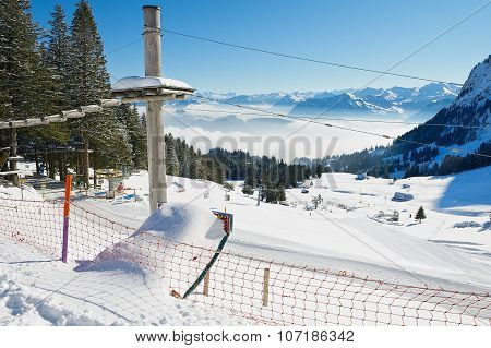 View to the ski at the Pilatus mountain in Lucern, Switzerland.