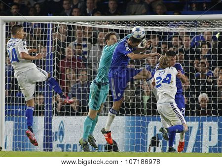 LONDON, ENGLAND - NOVEMBER 04 2015: goalkeeper Asmir Begovic of Chelsea during the UEFA Champions League match between Chelsea and Dynamo Kyiv at Stamford Bridge