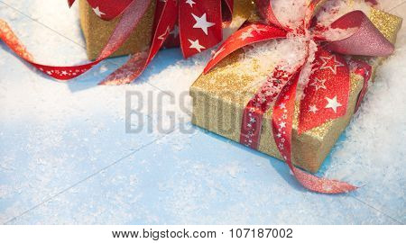 Fine wrapped christmas presents with copy space