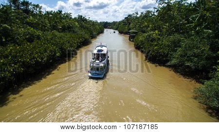 Aerial view of Marajo river in Belem do Para, Brazil