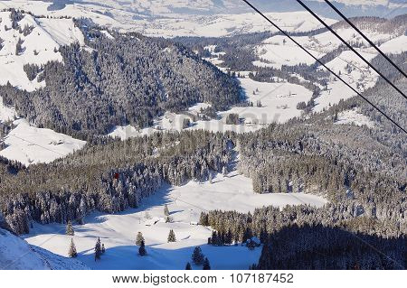 View to the forest at the of the Pilatus mountain from the cable car gondola in Lucern, Switzerland