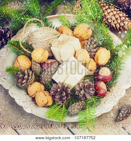 Toys For The Christmas   Tree And Pine Cones In A Metal Bowl, On Old Wooden Background  New Year