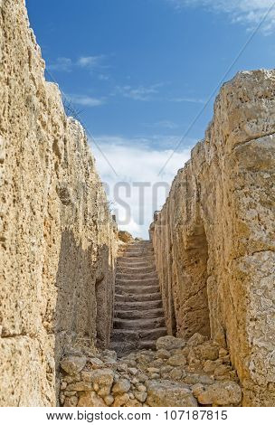 Ancient stairs in Paphos archeological park, Cyprus.