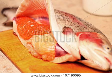 Red caviar, fresh, which only get more fish.