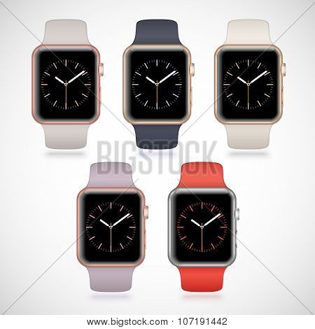 New modern shiny sport smart watches set
