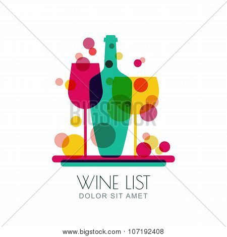 Abstract Illustration Of Tray With Wine Bottle And Two Glasses.