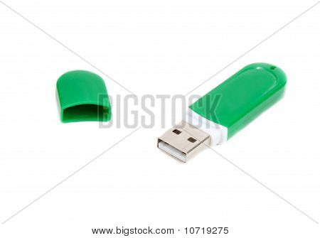 Usb Memory In Green Body With Open Lid