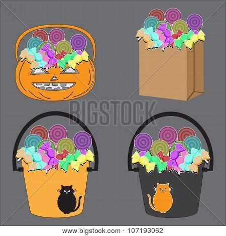 Tricks Or Treats Halloween Jack O Lantern. Vector Illustration Of Festive Basket With Sweets