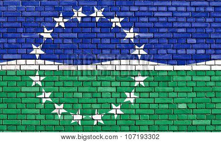 Flag Of Hampton Roads Painted On Brick Wall