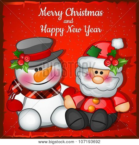 Santa Claus and snowman on a red background