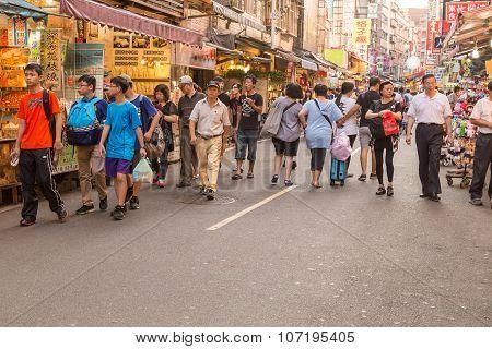 Shoppers At Danshui Pedestrian Shopping Area