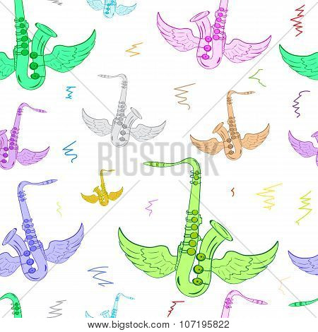 Seamless winged color saxophones white
