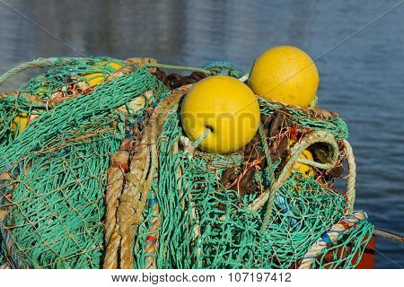 Fishing nets and buoys on a fishing boat