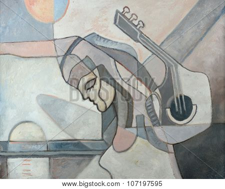 Abstract painting with woman and guitar and geometrical forms