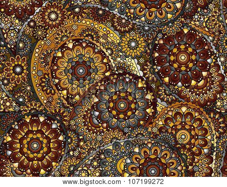 Vector flower paisley seamless pattern element. Elegant texture for backgrounds.