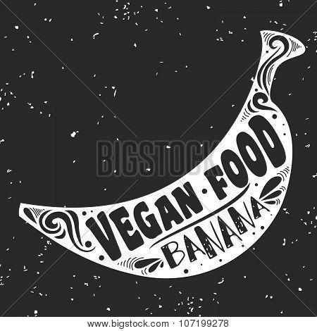Vegan Typographic Print With Banana.