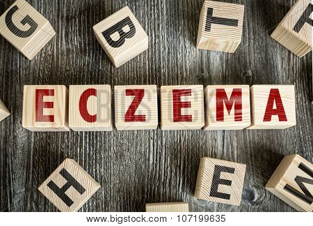 Wooden Blocks with the text: Eczema