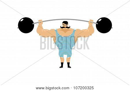Vintage Strongman. Ancient Athlete. Retro Bodybuilder Barbell. Strong Power Circus Actor.