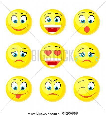 yellow smile icons isolated on white