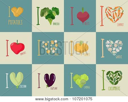 Set Of I Love Vegetables: Eggplant And Cucumber. Symbol Of Heart Of  Carrots And Potatoes. I Love To