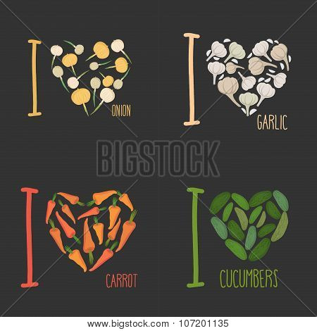 Set: I Love Vegetables: Carrots And Garlic. Symbol Of Heart Of Onions And Cucumbers. Collection Of S