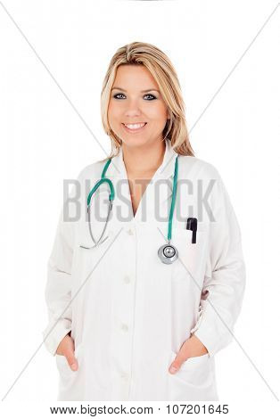 Sweet blond doctor isolated on a white background