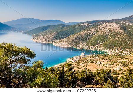 Port Fiskardo On Kefalonia Island, Greece.