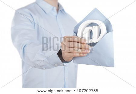 E-mail symbol with envelope in hand. Clipping path included.