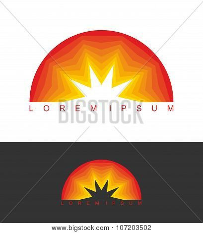 Sunrise Logo. Dawn Emblem. Business Template Logo For Company. Abstract Logotype Icon