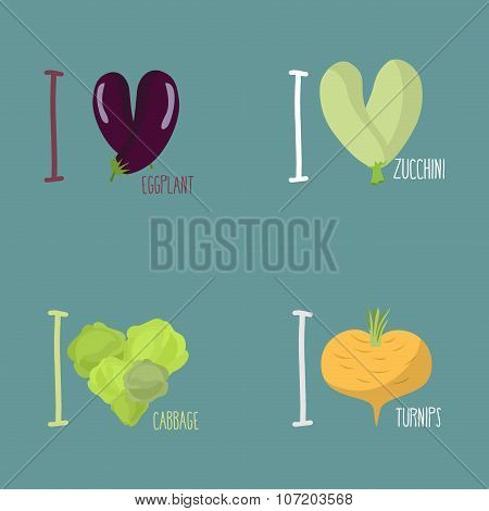 Collection Of Vegetables. Set Of I Love Eggplant, Turnips. Symbol Of Heart Of The Squash And Cabbage