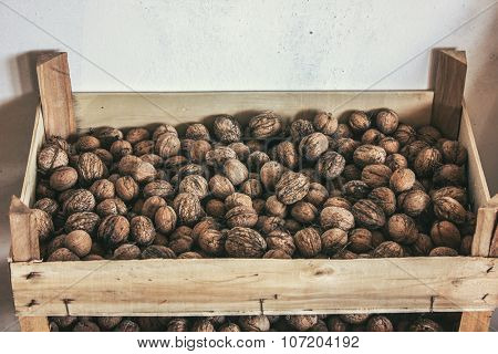 Walnuts in stack