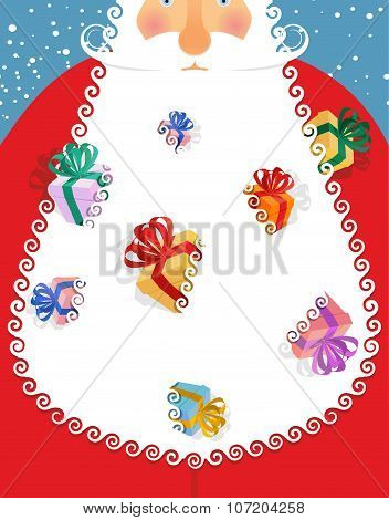 Santa Claus Gifts In His Beard. Many Gift Boxes In White Santa Beard. Christmas Card For Winter Holi