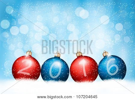 Christmas background with a 2016 made out of baubles. Vector.